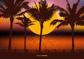 Belle Scène Tropical Paysage vecteur