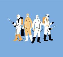 les hommes portent une combinaison de protection vecteur