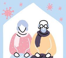 vieux couple reste à la maison après la pandémie de coronavirus vecteur