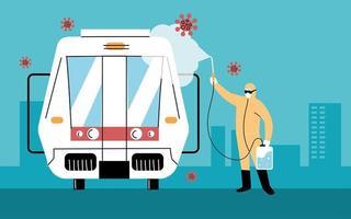 service de désinfection du métro par coronavirus vecteur