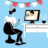 homme avec chapeau de fête et ordinateur dans le chat