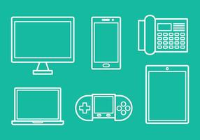 Linear Tecnologia Icons Vector