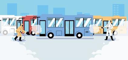 désinfection des bus de service par covid 19 vecteur