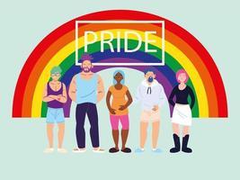 personnes avec fond arc-en-ciel, symbole de la fierté gay