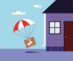 boîte avec livraison de parachute à la porte vecteur