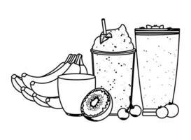 dessin au trait de boisson aux fruits tropicaux et smoothie vecteur