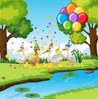 groupe d'oie dans le thème de la fête