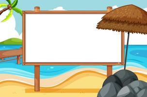 cadre en bois vierge dans la scène de la plage