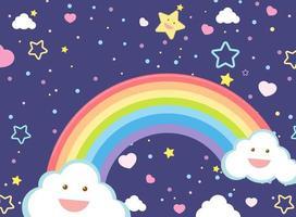 arc-en-ciel vierge avec des étoiles souriantes vecteur