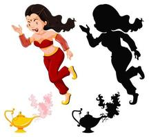 lanterne magique fille de génie ou lampe aladdin vecteur
