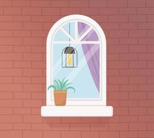 fenêtre de l'appartement et mur de briques vecteur