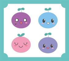 Composition de fruits kawaii emoji vecteur