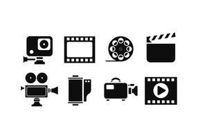 Cinématographie Silhouette Icône Vecteurs vecteur