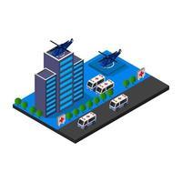 hôpital isométrique avec hélicoptères vecteur