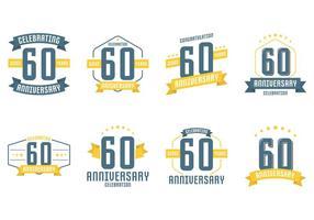 60e anniversaire Symboles vecteur