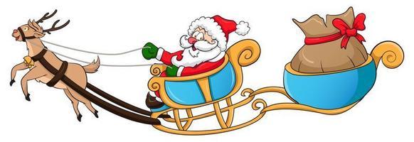 calèche du père Noël et des rennes vecteur
