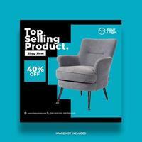 bannière de médias sociaux en ligne de meubles