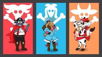 définir des personnages de dessins animés de pirates vecteur