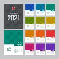 modèle de calendrier turc 2021 vecteur