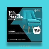 poste social de vente de meubles turquoise vecteur