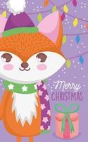 carte de Noël avec personnage de renard