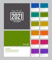 modèle de calendrier 2021 linéaire coloré