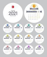 calendrier turc rond 2021 vecteur