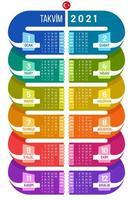 calendrier infographique turc 2021 vecteur