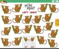 compter les images de gauche et de droite d'animal tarsier de dessin animé vecteur