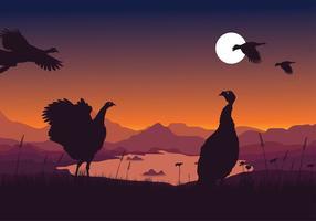 Wild Turkey Nuit Vecteur libre
