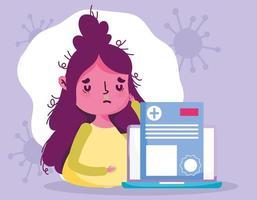 concept de soins de santé en ligne avec patient malade vecteur