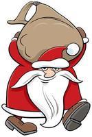 Père Noël personnage de Noël portant un sac de cadeaux vecteur