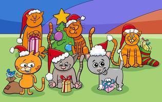 Groupe de personnages de chats de dessin animé à Noël