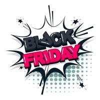 style pop art de texte comique vendredi noir vecteur
