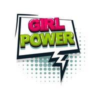 style pop art texte bande dessinée fille power vecteur