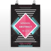 modèle d'affiche minimal abstrait noir et rose vecteur