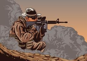 Soldat Avec Ar15 Vector
