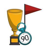 trophée sportif avec chronomètre et drapeau