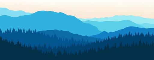 beau paysage de montagne bleu avec brouillard et forêt vecteur