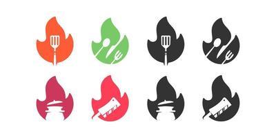 collection de conception de logo espace négatif de nourriture de feu vecteur
