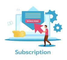 illustration vectorielle plane abonnement. paiement régulier et récurrent du produit, du service. vecteur