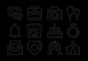 Boda Thin Line Icons vecteur