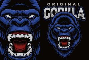 emblème de mascotte colorée avec gorille vecteur