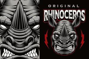 emblème mascotr coloré avec rhinocéros vecteur