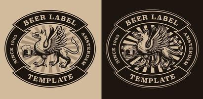 emblème de bière vintage avec un griffon tenant une chope de bière vecteur
