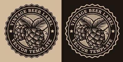emblème de bière vintage circulaire vecteur