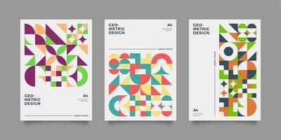 ensemble de rapports annuels de forme géométrique abstraite colorée vecteur