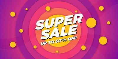 bannière de super vente cercle superposé coloré brillant vecteur