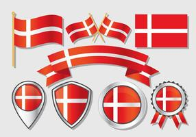 Danish Flag Collection Vector