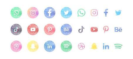 jeu d'icônes aquarelle de médias sociaux vecteur